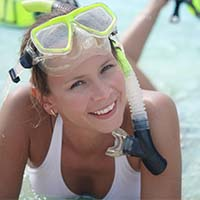 Girl with snorkeling gear on